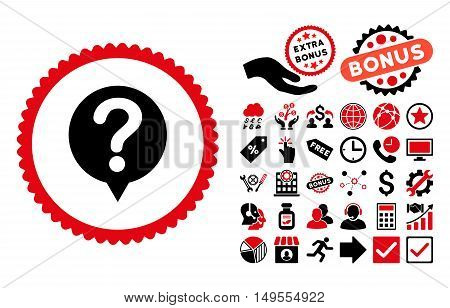 Status icon with bonus symbols. Glyph illustration style is flat iconic bicolor symbols, intensive red and black colors, white background.