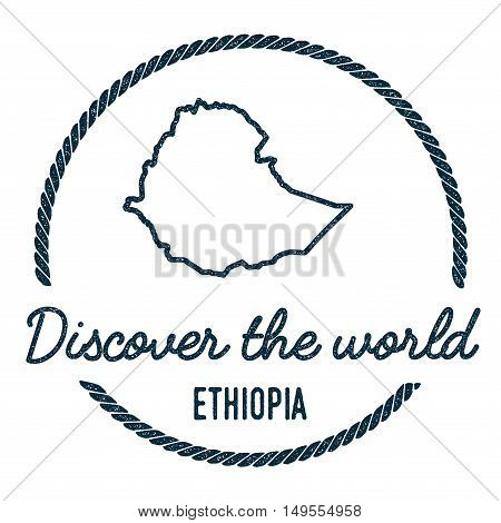 Ethiopia Map Outline. Vintage Discover The World Rubber Stamp With Ethiopia Map. Hipster Style Nauti