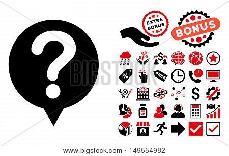 Status icon with bonus pictograph collection. Glyph illustration style is flat iconic bicolor symbols, intensive red and black colors, white background.