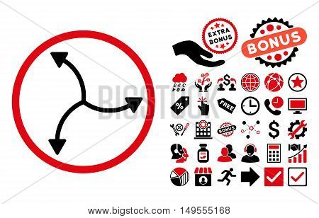 Swirl Arrows pictograph with bonus clip art. Glyph illustration style is flat iconic bicolor symbols, intensive red and black colors, white background.