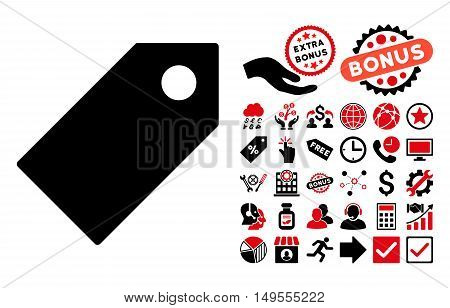Tag pictograph with bonus images. Glyph illustration style is flat iconic bicolor symbols, intensive red and black colors, white background.