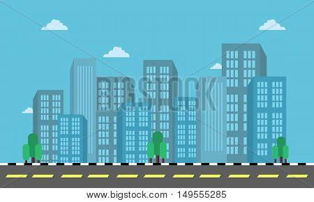city building and street landscape in flat vector illustration