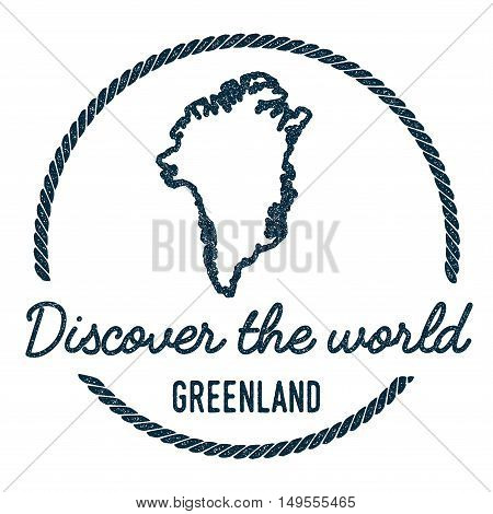 Greenland Map Outline. Vintage Discover The World Rubber Stamp With Greenland Map. Hipster Style Nau