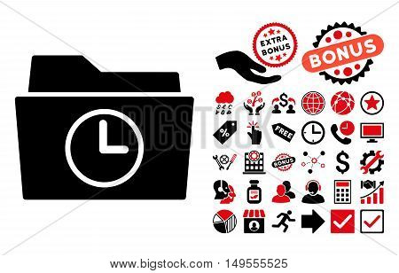 Temporary Folder icon with bonus images. Glyph illustration style is flat iconic bicolor symbols, intensive red and black colors, white background.