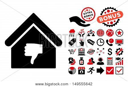Thumb Down Building icon with bonus symbols. Glyph illustration style is flat iconic bicolor symbols, intensive red and black colors, white background.