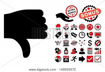 Thumb Down icon with bonus symbols. Glyph illustration style is flat iconic bicolor symbols, intensive red and black colors, white background.