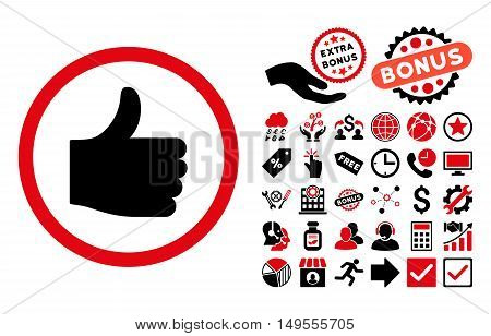 Thumb Up icon with bonus pictogram. Glyph illustration style is flat iconic bicolor symbols, intensive red and black colors, white background.