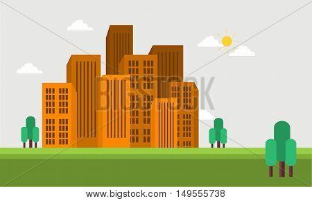 Flat vector town skyline of silhouette illustration