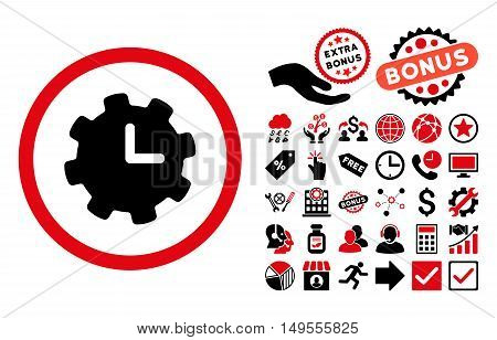 Time Settings icon with bonus symbols. Glyph illustration style is flat iconic bicolor symbols, intensive red and black colors, white background.