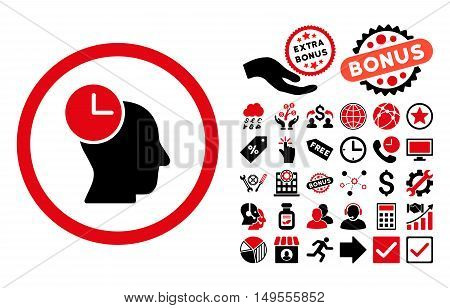 Time Thinking icon with bonus design elements. Glyph illustration style is flat iconic bicolor symbols, intensive red and black colors, white background.