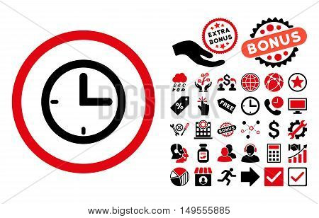 Time icon with bonus icon set. Glyph illustration style is flat iconic bicolor symbols, intensive red and black colors, white background.