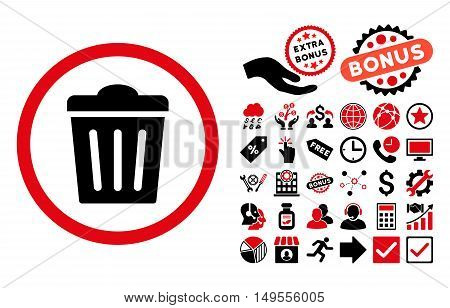 Trash Can pictograph with bonus design elements. Glyph illustration style is flat iconic bicolor symbols, intensive red and black colors, white background.