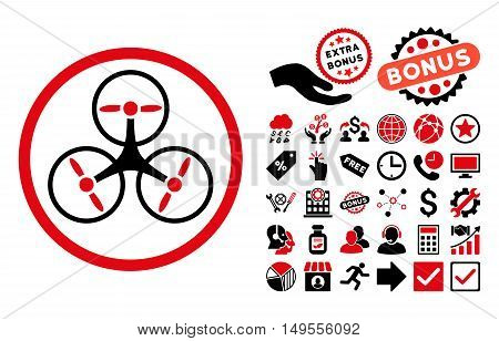 Tricopter pictograph with bonus pictogram. Glyph illustration style is flat iconic bicolor symbols, intensive red and black colors, white background.