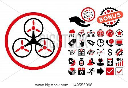 Tricopter icon with bonus symbols. Glyph illustration style is flat iconic bicolor symbols, intensive red and black colors, white background.