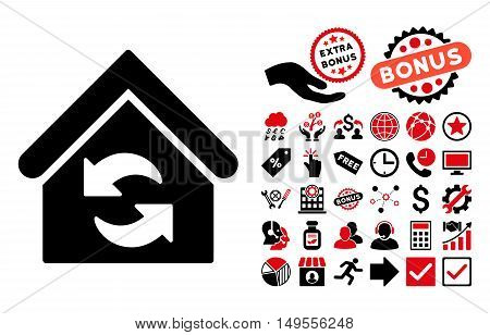 Update Building icon with bonus elements. Glyph illustration style is flat iconic bicolor symbols, intensive red and black colors, white background.