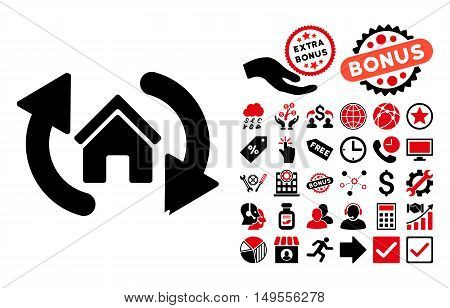 Update House pictograph with bonus clip art. Glyph illustration style is flat iconic bicolor symbols, intensive red and black colors, white background.