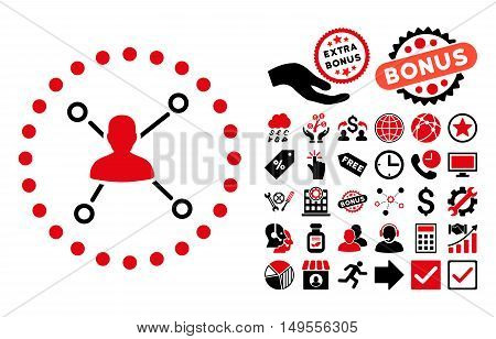 User Relations icon with bonus pictures. Glyph illustration style is flat iconic bicolor symbols, intensive red and black colors, white background.