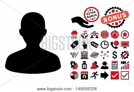 User pictograph with bonus symbols. Glyph illustration style is flat iconic bicolor symbols, intensive red and black colors, white background.