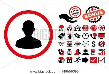 User icon with bonus pictogram. Glyph illustration style is flat iconic bicolor symbols, intensive red and black colors, white background.