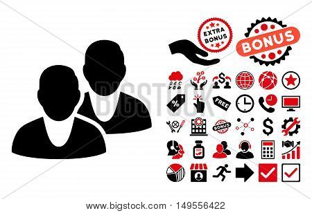 Users icon with bonus symbols. Glyph illustration style is flat iconic bicolor symbols, intensive red and black colors, white background.