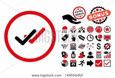 Validation icon with bonus images. Glyph illustration style is flat iconic bicolor symbols, intensive red and black colors, white background.