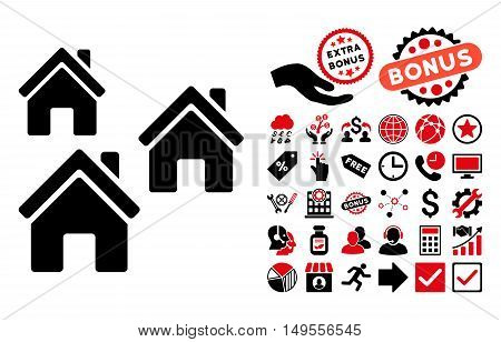 Village Buildings pictograph with bonus design elements. Glyph illustration style is flat iconic bicolor symbols, intensive red and black colors, white background.
