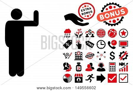 Vote Pose icon with bonus icon set. Glyph illustration style is flat iconic bicolor symbols, intensive red and black colors, white background.