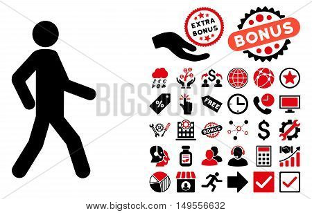 Walking Man icon with bonus symbols. Glyph illustration style is flat iconic bicolor symbols, intensive red and black colors, white background.