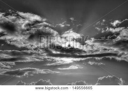 Clouds in the sky. HDR and black and white picture.