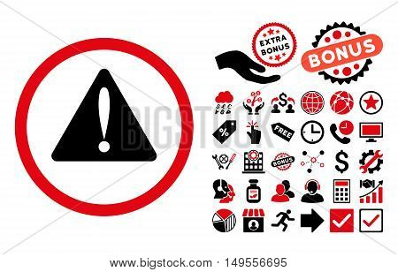 Warning Error pictograph with bonus elements. Glyph illustration style is flat iconic bicolor symbols, intensive red and black colors, white background.