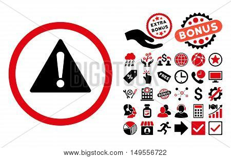 Warning pictograph with bonus clip art. Glyph illustration style is flat iconic bicolor symbols, intensive red and black colors, white background.