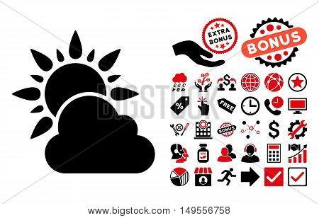 Weather icon with bonus images. Glyph illustration style is flat iconic bicolor symbols, intensive red and black colors, white background.