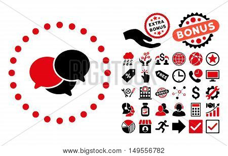 Webinar pictograph with bonus clip art. Glyph illustration style is flat iconic bicolor symbols, intensive red and black colors, white background.