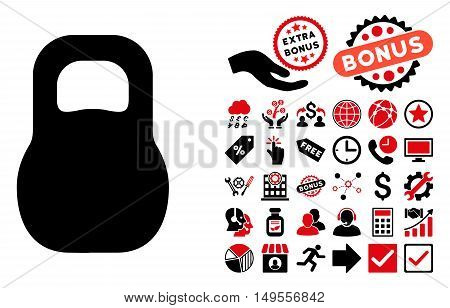 Weight Iron icon with bonus pictogram. Glyph illustration style is flat iconic bicolor symbols, intensive red and black colors, white background.