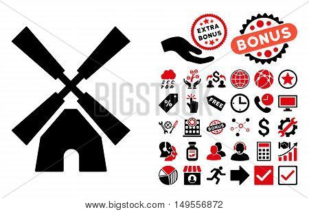 Wind Mill icon with bonus icon set. Glyph illustration style is flat iconic bicolor symbols, intensive red and black colors, white background.