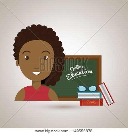 woman student online education vector illustration eps 10