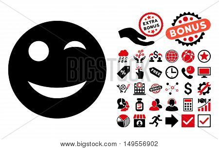 Wink pictograph with bonus clip art. Glyph illustration style is flat iconic bicolor symbols, intensive red and black colors, white background.