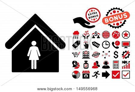Woman Toilet pictograph with bonus elements. Glyph illustration style is flat iconic bicolor symbols, intensive red and black colors, white background.