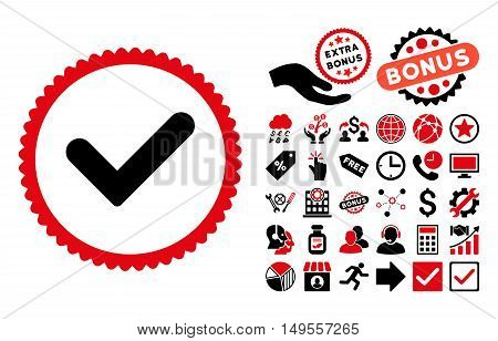 Yes icon with bonus symbols. Glyph illustration style is flat iconic bicolor symbols, intensive red and black colors, white background.