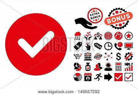 Yes pictograph with bonus pictures. Glyph illustration style is flat iconic bicolor symbols, intensive red and black colors, white background.