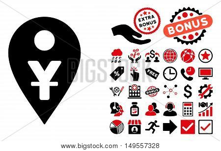 Yuan Map Marker pictograph with bonus elements. Glyph illustration style is flat iconic bicolor symbols, intensive red and black colors, white background.