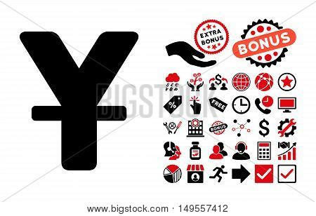 Yuan pictograph with bonus icon set. Glyph illustration style is flat iconic bicolor symbols, intensive red and black colors, white background.