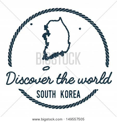 Korea, Republic Of Map Outline. Vintage Discover The World Rubber Stamp With Korea, Republic Of Map.