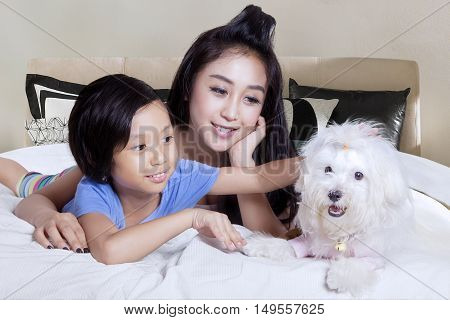 Portrait of happy young mother and her daughter playing with maltese dog on the bed