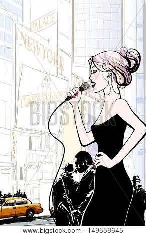 Jazz band and singer playing in New York - vector illustration