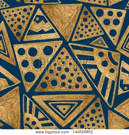 Hand drawn gold paint seamless pattern. Ethnic aztec tribal african background.