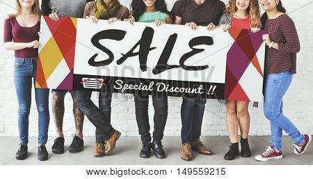 Group of People Sales Promotion Special Discount Concept