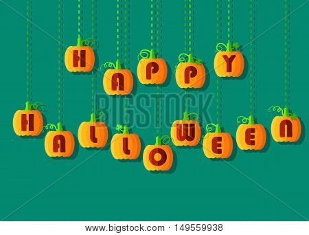Happy Halloween by pumpkin font. Orange geometric pumpkins with red signs. Jack of the Lantern. Vector illustration