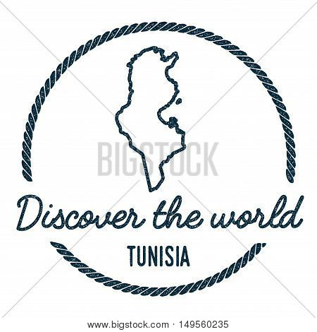Tunisia Map Outline. Vintage Discover The World Rubber Stamp With Tunisia Map. Hipster Style Nautica
