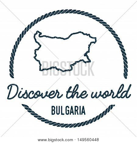 Bulgaria Map Outline. Vintage Discover The World Rubber Stamp With Bulgaria Map. Hipster Style Nauti